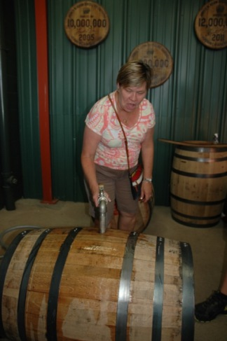 Filling a barrel Jim Beam
